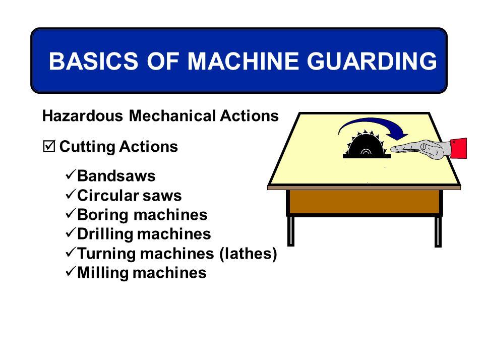 BASICS OF MACHINE GUARDING Hazardous Mechanical Actions Cutting Actions Bandsaws Circular saws Boring machines Drilling machines Turning machines (lat