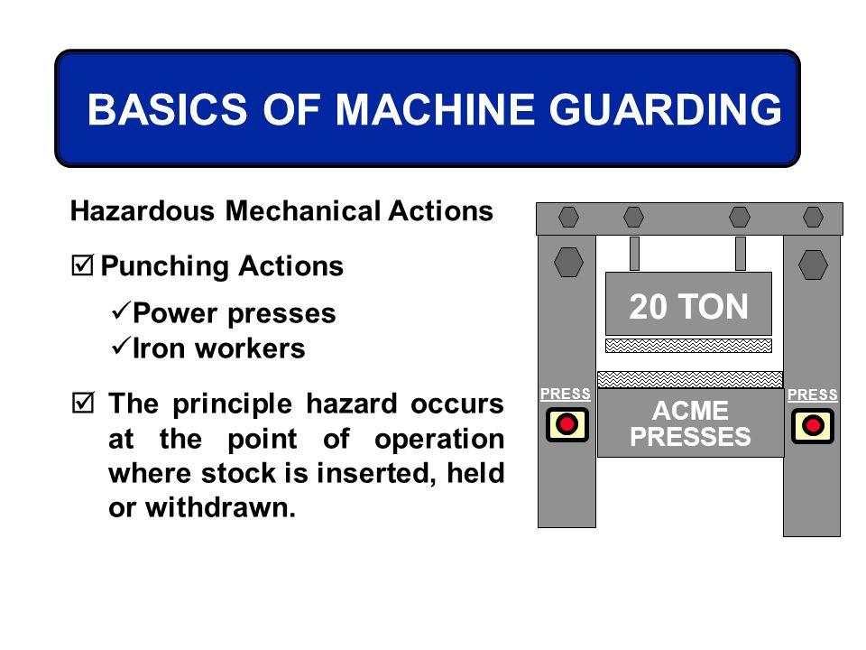 BASICS OF MACHINE GUARDING Hazardous Mechanical Actions Punching Actions Power presses Iron workers 20 TON PRESS ACME PRESSES The principle hazard occ