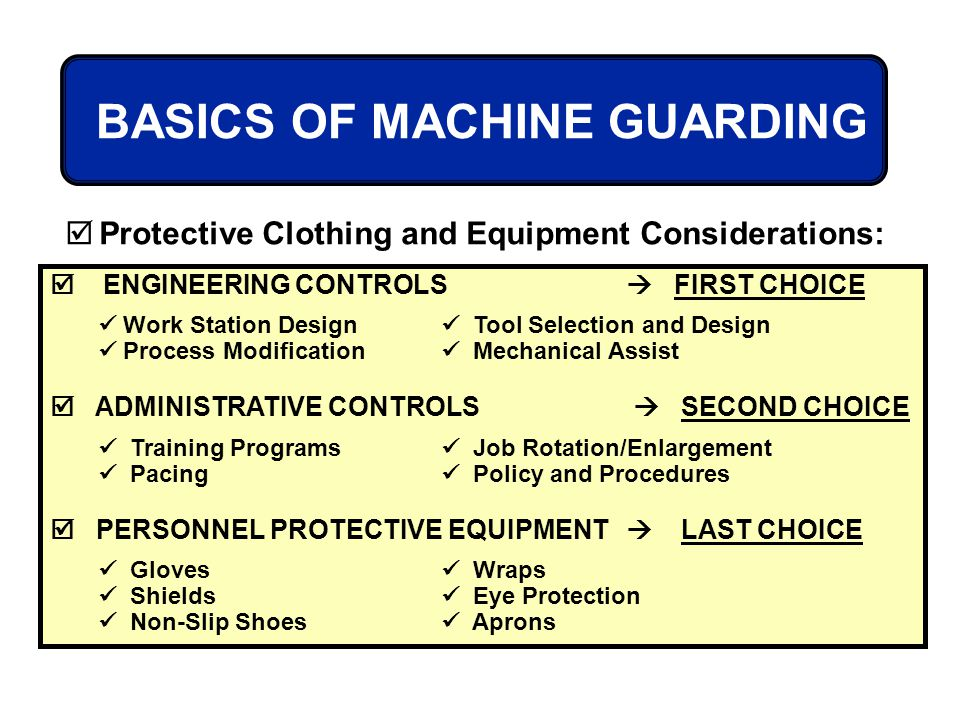 ENGINEERING CONTROLS FIRST CHOICE Work Station Design Tool Selection and Design Process Modification Mechanical Assist ADMINISTRATIVE CONTROLS SECOND
