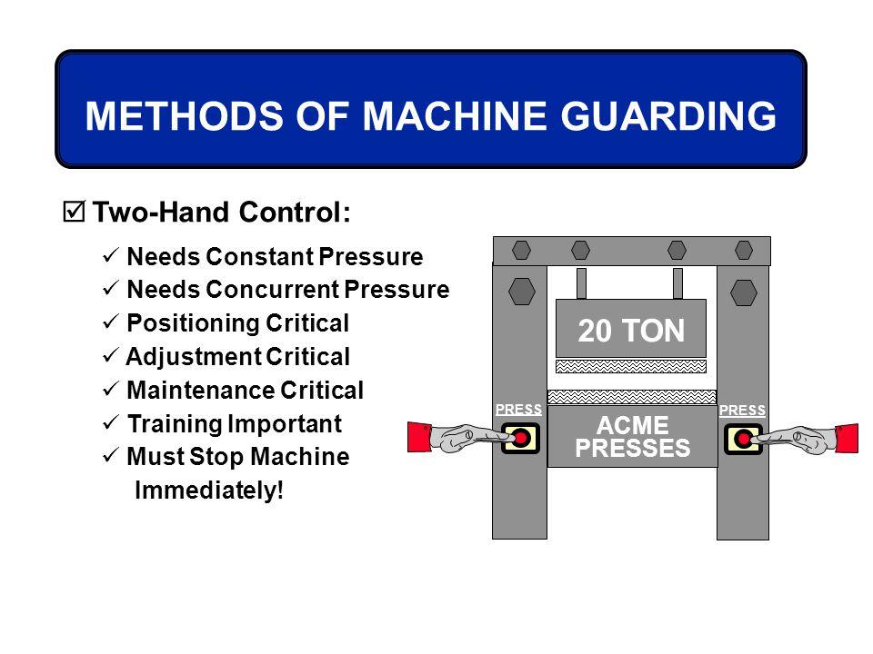 20 TON PRESS ACME PRESSES METHODS OF MACHINE GUARDING Two-Hand Control: Needs Constant Pressure Needs Concurrent Pressure Positioning Critical Adjustm