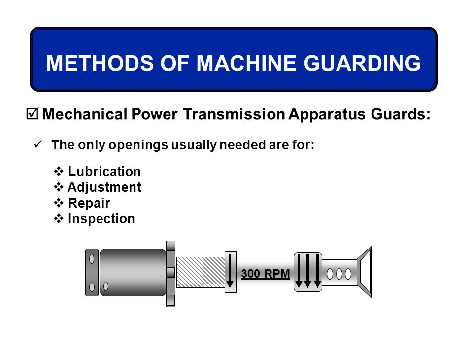 METHODS OF MACHINE GUARDING Mechanical Power Transmission Apparatus Guards: The only openings usually needed are for: Lubrication Adjustment Repair In