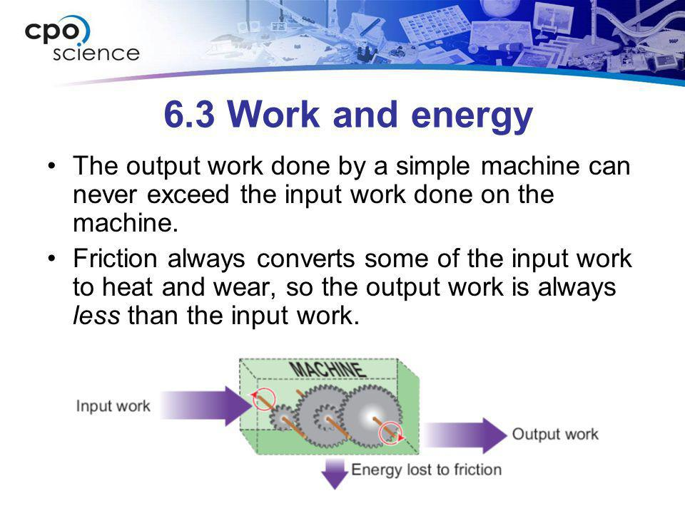 6.3 Work and energy The output work done by a simple machine can never exceed the input work done on the machine. Friction always converts some of the