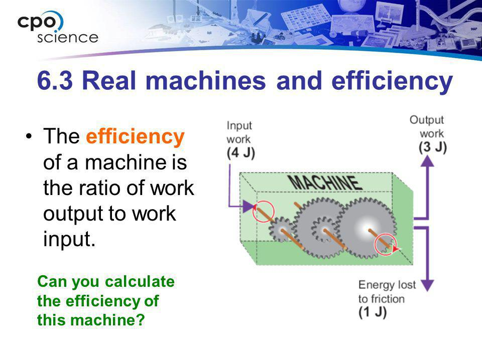 6.3 Real machines and efficiency The efficiency of a machine is the ratio of work output to work input. Can you calculate the efficiency of this machi
