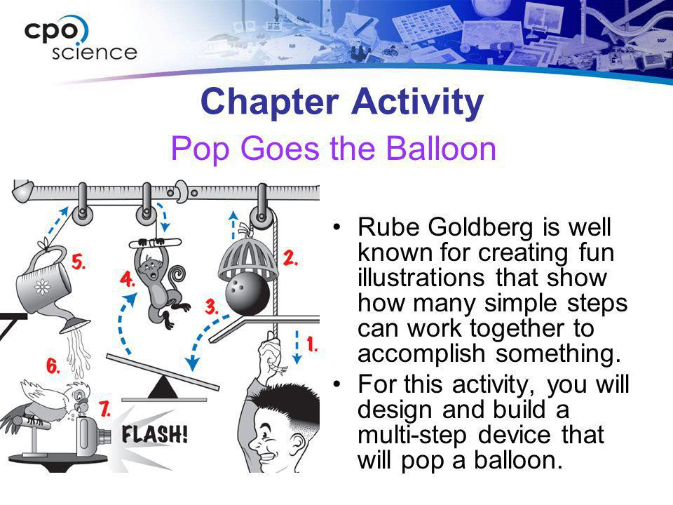 Chapter Activity Rube Goldberg is well known for creating fun illustrations that show how many simple steps can work together to accomplish something.