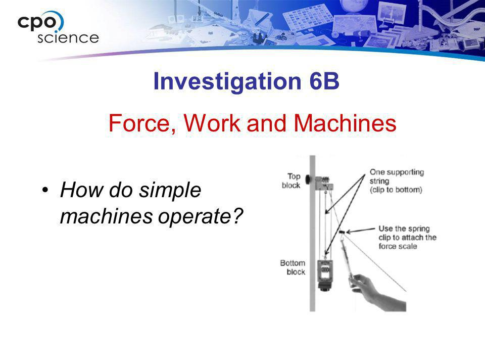 Investigation 6B How do simple machines operate? Force, Work and Machines