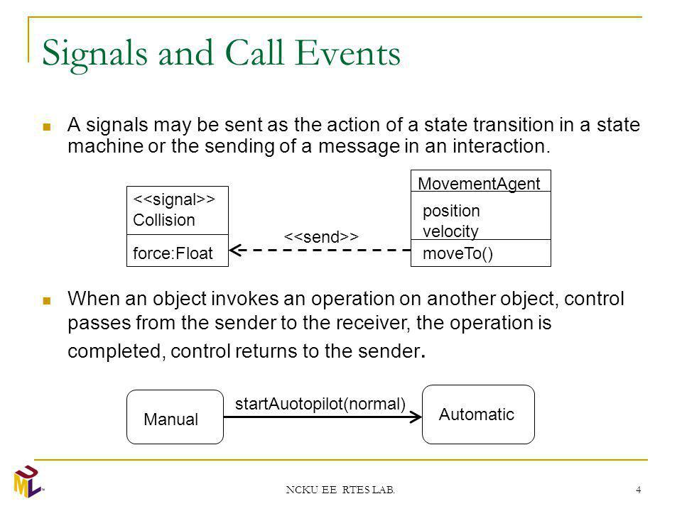 NCKU EE RTES LAB. 4 Signals and Call Events A signals may be sent as the action of a state transition in a state machine or the sending of a message i