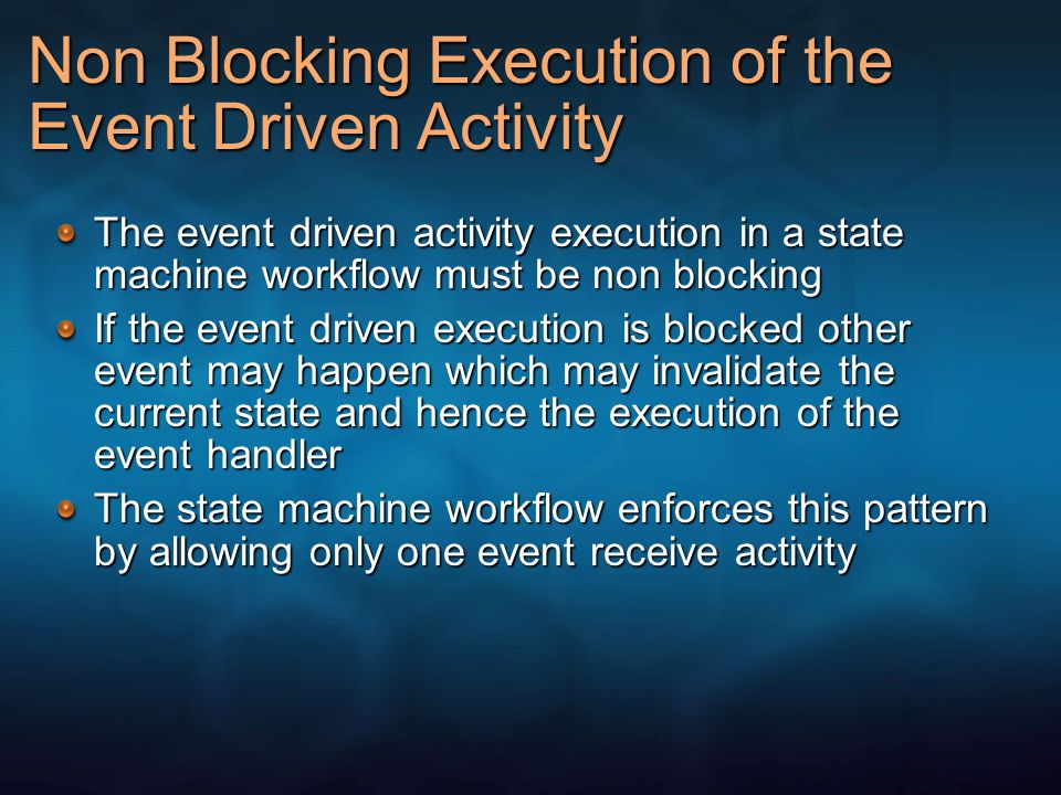 Non Blocking Execution of the Event Driven Activity The event driven activity execution in a state machine workflow must be non blocking If the event driven execution is blocked other event may happen which may invalidate the current state and hence the execution of the event handler The state machine workflow enforces this pattern by allowing only one event receive activity