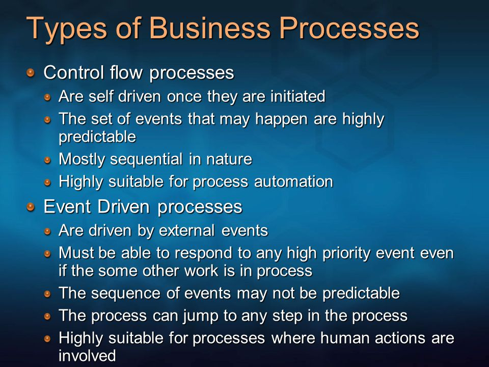 Types of Business Processes Control flow processes Are self driven once they are initiated The set of events that may happen are highly predictable Mo