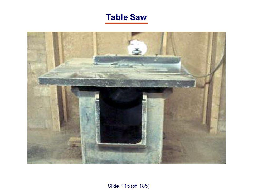Slide 115 (of 185) Table Saw
