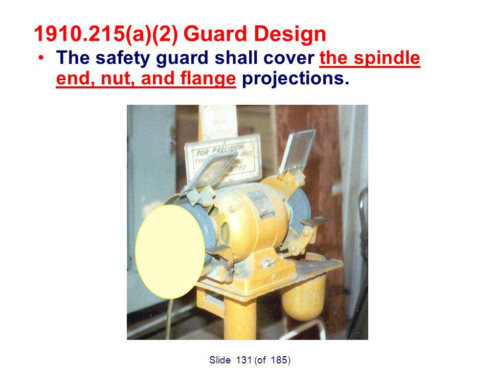 Slide 131 (of 185) The safety guard shall cover the spindle end, nut, and flange projections.