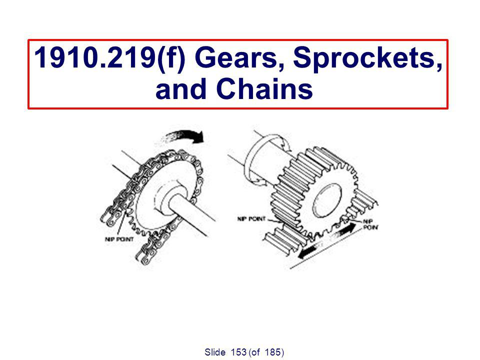 Slide 153 (of 185) 1910.219(f) Gears, Sprockets, and Chains