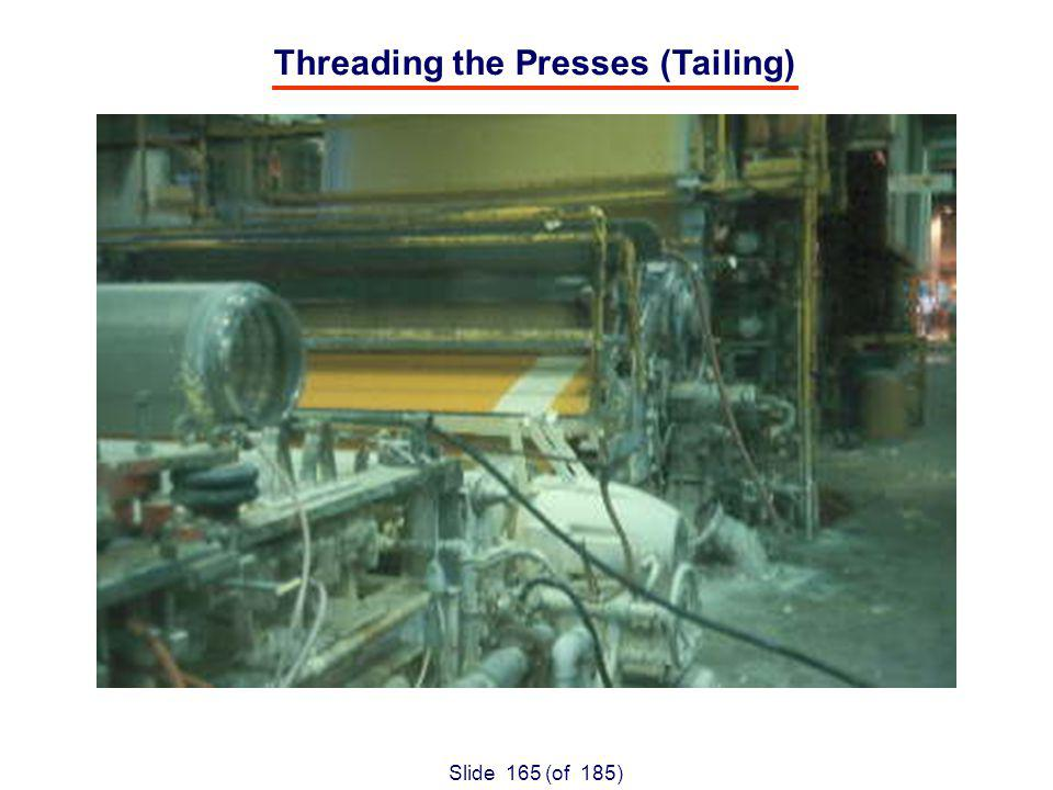Slide 165 (of 185) Threading the Presses (Tailing)