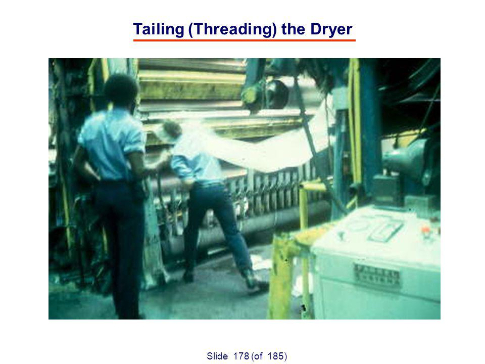 Slide 178 (of 185) Tailing (Threading) the Dryer