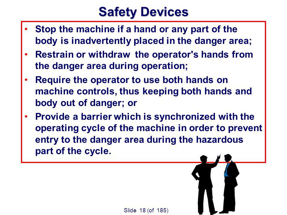 Slide 18 (of 185) Safety Devices Stop the machine if a hand or any part of the body is inadvertently placed in the danger area; Restrain or withdraw the operator s hands from the danger area during operation; Require the operator to use both hands on machine controls, thus keeping both hands and body out of danger; or Provide a barrier which is synchronized with the operating cycle of the machine in order to prevent entry to the danger area during the hazardous part of the cycle.
