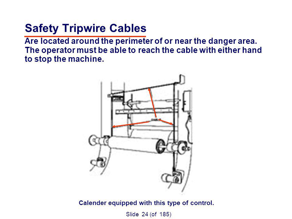 Slide 24 (of 185) Safety Tripwire Cables Are located around the perimeter of or near the danger area.