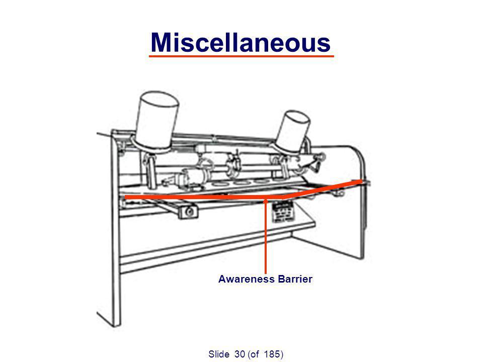 Slide 30 (of 185) Miscellaneous Awareness Barrier