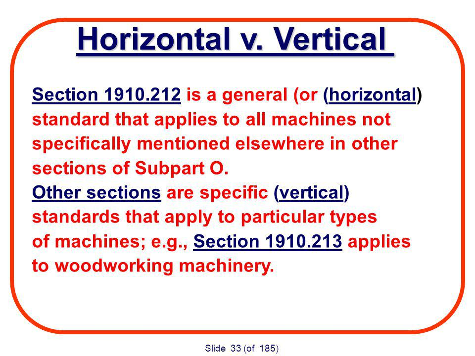 Slide 33 (of 185) Section is a general (or (horizontal) standard that applies to all machines not specifically mentioned elsewhere in other sections of Subpart O.