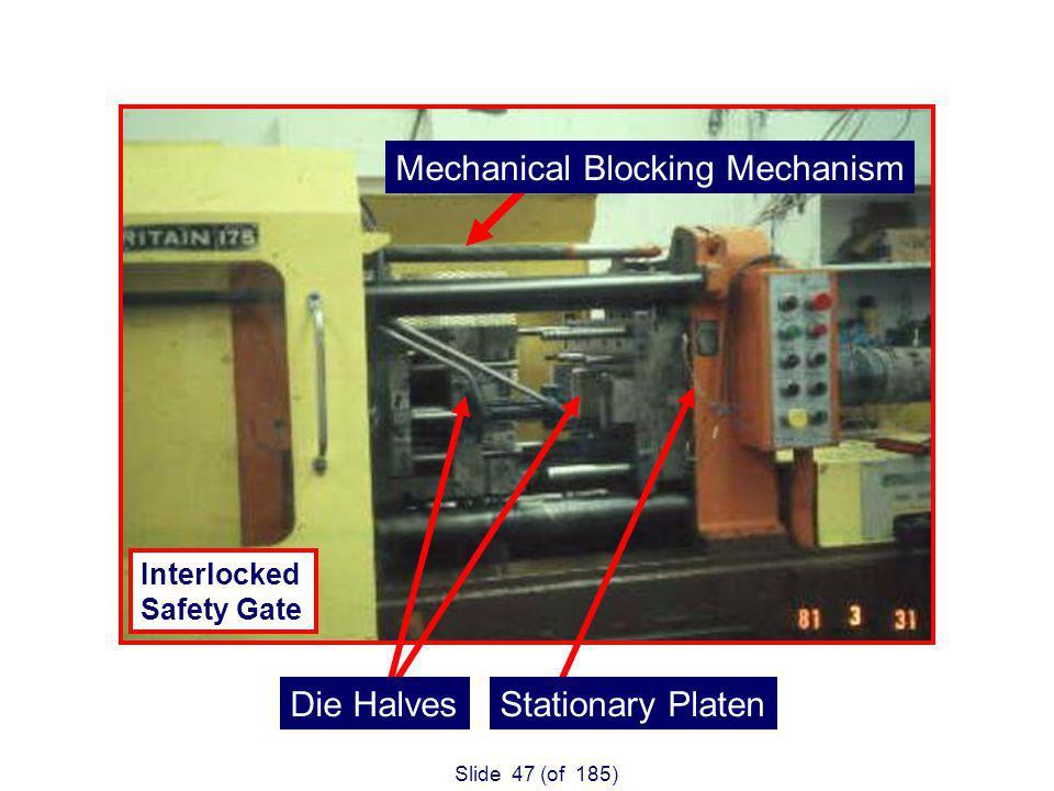 Slide 47 (of 185) Die HalvesStationary Platen 175 Ton Injection Molding Machine Interlocked Safety Gate Mechanical Blocking Mechanism