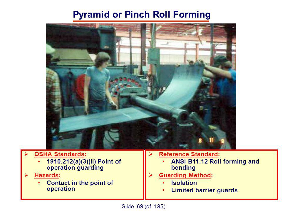 Slide 69 (of 185) Pyramid or Pinch Roll Forming OSHA Standards: (a)(3)(ii) Point of operation guarding Hazards: Contact in the point of operation Reference Standard: ANSI B11.12 Roll forming and bending Guarding Method: Isolation Limited barrier guards