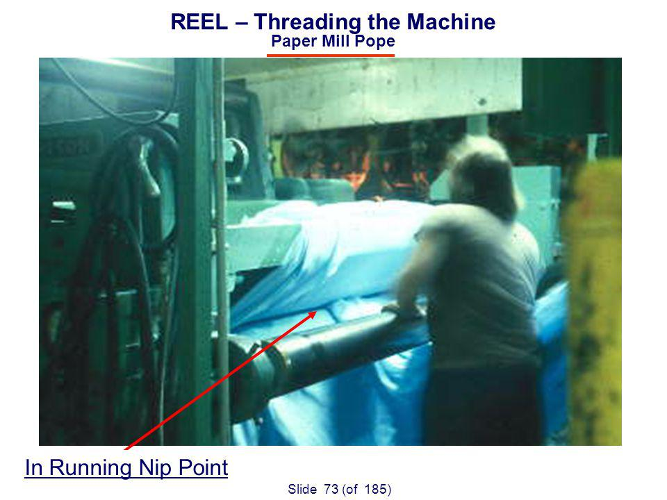 Slide 73 (of 185) REEL – Threading the Machine Paper Mill Pope In Running Nip Point