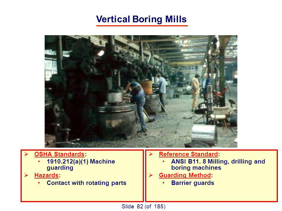 Slide 82 (of 185) Vertical Boring Mills OSHA Standards: 1910.212(a)(1) Machine guarding Hazards: Contact with rotating parts Reference Standard: ANSI B11.