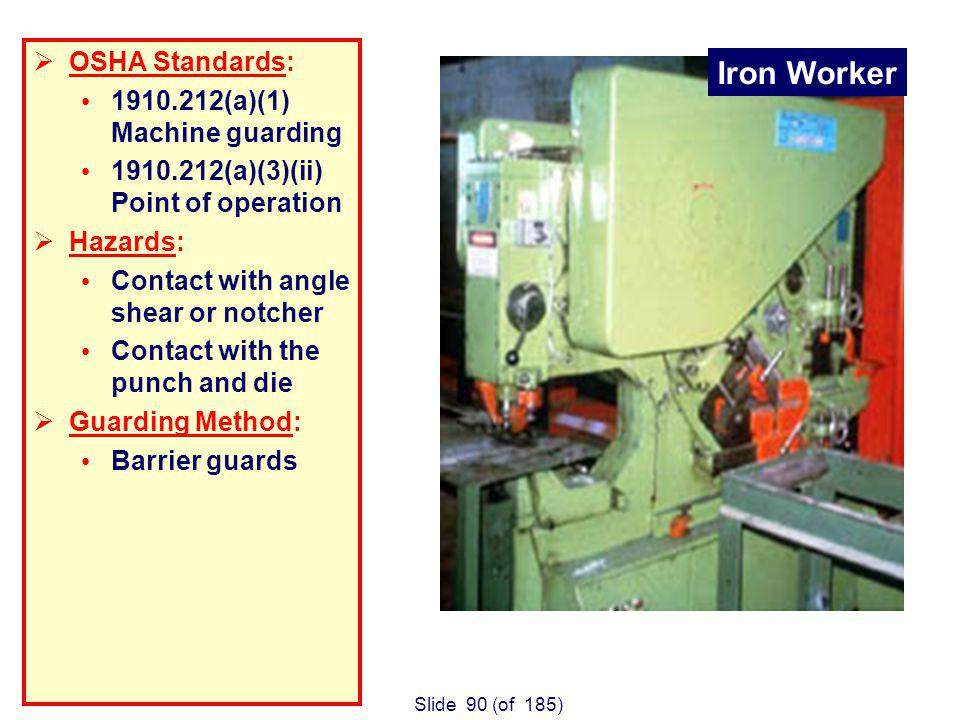 Slide 90 (of 185) Iron Worker OSHA Standards: 1910.212(a)(1) Machine guarding 1910.212(a)(3)(ii) Point of operation Hazards: Contact with angle shear or notcher Contact with the punch and die Guarding Method: Barrier guards