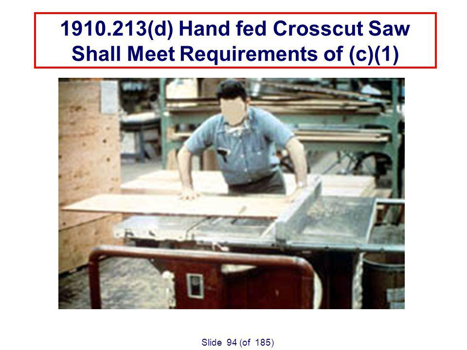 Slide 94 (of 185) 1910.213(d) Hand fed Crosscut Saw Shall Meet Requirements of (c)(1)