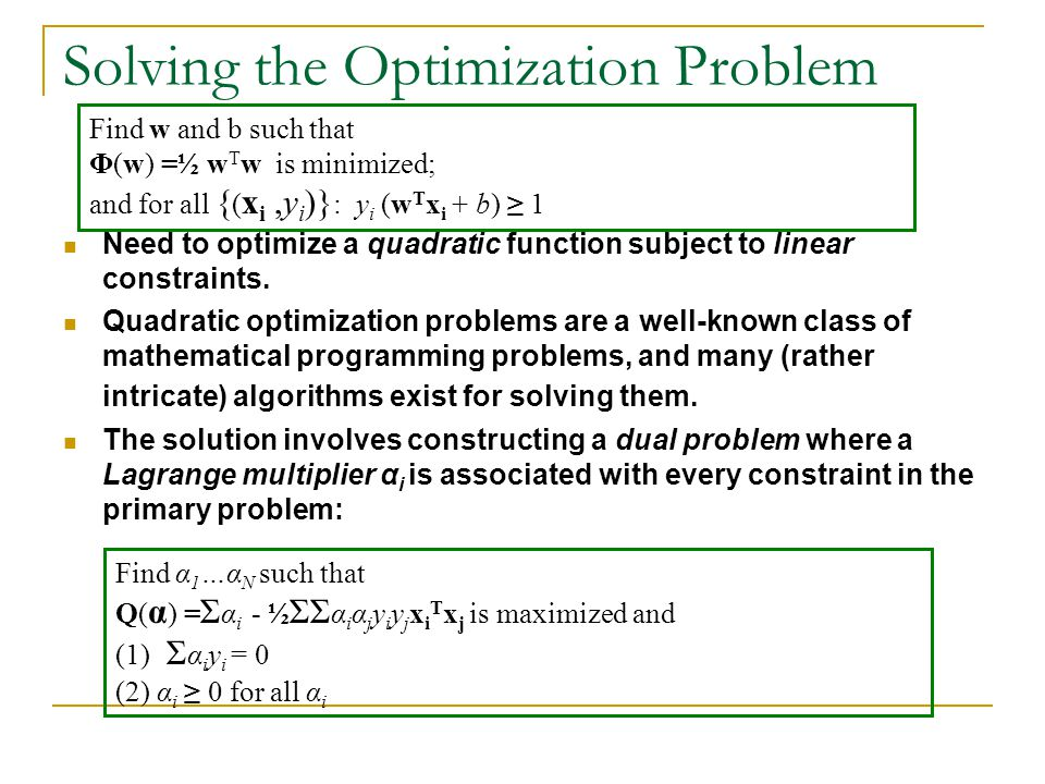 Solving the Optimization Problem Need to optimize a quadratic function subject to linear constraints. Quadratic optimization problems are a well-known