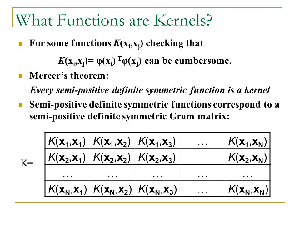 What Functions are Kernels? For some functions K(x i,x j ) checking that K(x i,x j )= φ(x i ) T φ(x j ) can be cumbersome. Mercers theorem: Every semi