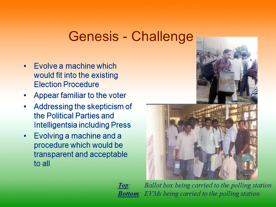 Genesis - Challenge Evolve a machine which would fit into the existing Election Procedure Appear familiar to the voter Addressing the skepticism of the Political Parties and Intelligentsia including Press Evolving a machine and a procedure which would be transparent and acceptable to all Evolve a machine which would fit into the existing Election Procedure Appear familiar to the voter Addressing the skepticism of the Political Parties and Intelligentsia including Press Evolving a machine and a procedure which would be transparent and acceptable to all Top: Ballot box being carried to the polling station Bottom: EVMs being carried to the polling station