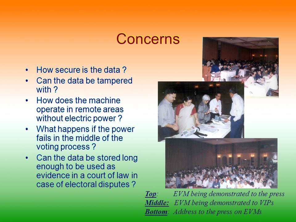 Statistics of Interest Around one million machines deployed during Lok Sabha, 2004 polls Low failure rate Costs around US $ 300 Estimated saving on the switchover to EVM is Approx US $ 40 million Political Parties and Intelligentsia who initially were skeptical now endorse the machine for its veracity Around one million machines deployed during Lok Sabha, 2004 polls Low failure rate Costs around US $ 300 Estimated saving on the switchover to EVM is Approx US $ 40 million Political Parties and Intelligentsia who initially were skeptical now endorse the machine for its veracity EVM being demonstrated to voters before the recent elections held in the state of Jammu & Kashmir