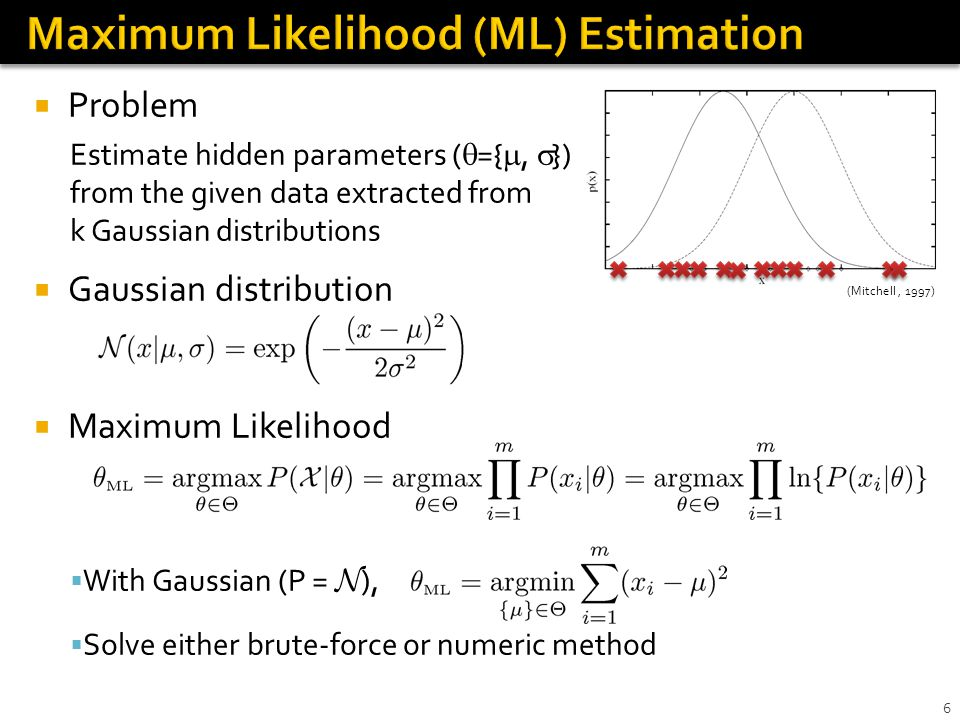 Problems in ML estimation Observation X is often not complete Latent (hidden) variable Z exists Hard to explore whole parameter space Expectation-Maximization algorithm Object : To find ML, over latent distribution P( Z | X, ) Steps 0.