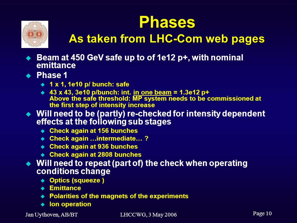 Jan Uythoven, AB/BTLHCCWG, 3 May 2006 Page 10 Phases As taken from LHC-Com web pages Beam at 450 GeV safe up to of 1e12 p+, with nominal emittance Phase 1 1 x 1, 1e10 p/ bunch: safe 43 x 43, 3e10 p/bunch: int.
