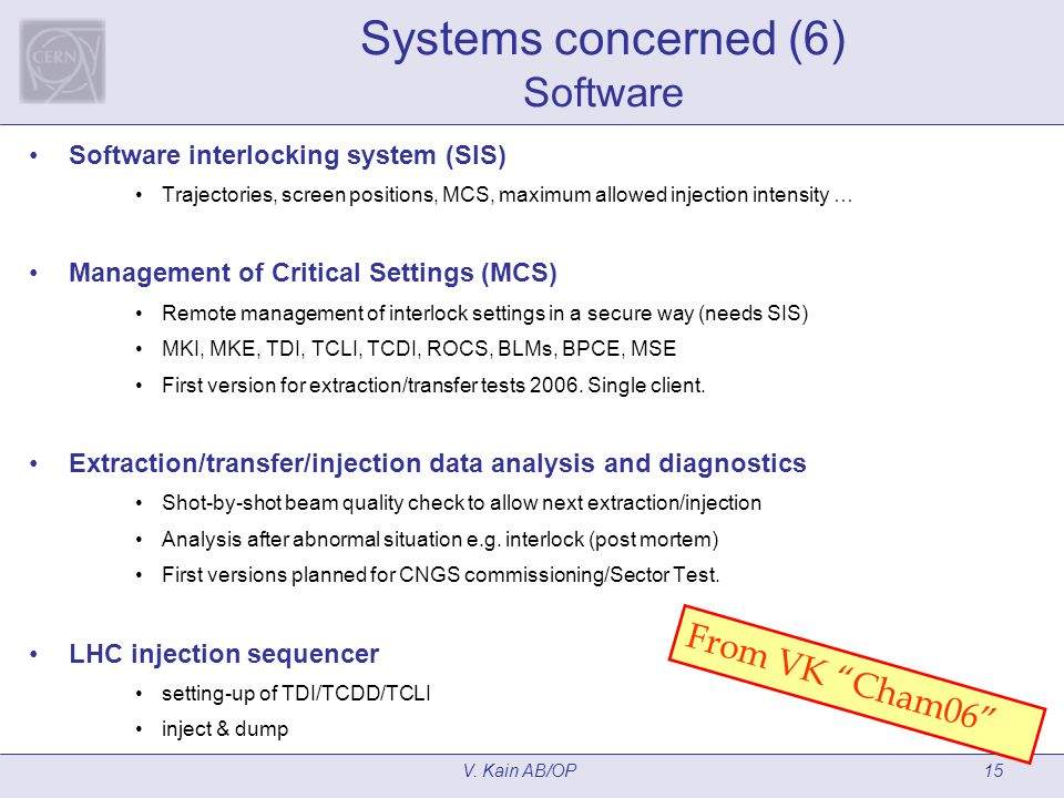 V. Kain AB/OP15 Systems concerned (6) Software Software interlocking system (SIS) Trajectories, screen positions, MCS, maximum allowed injection inten