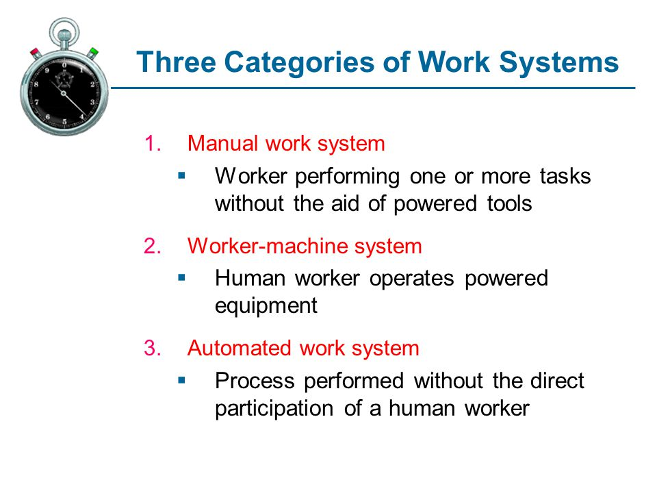 Three Categories of Work Systems 1.Manual work system Worker performing one or more tasks without the aid of powered tools 2.Worker-machine system Hum