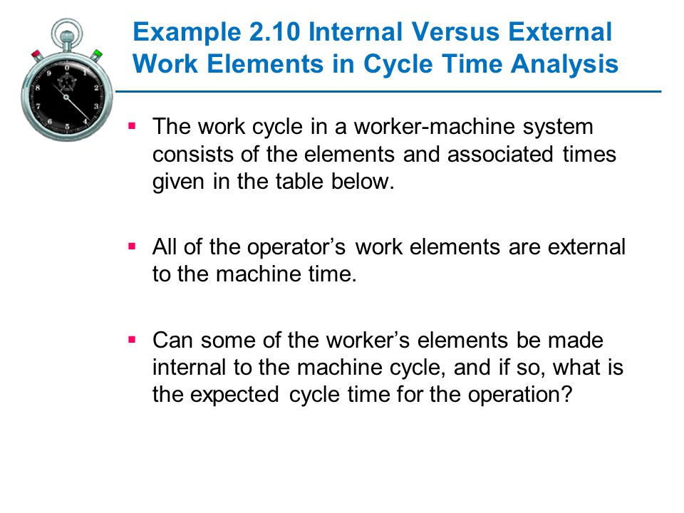 Example 2.10 Internal Versus External Work Elements in Cycle Time Analysis The work cycle in a worker-machine system consists of the elements and asso