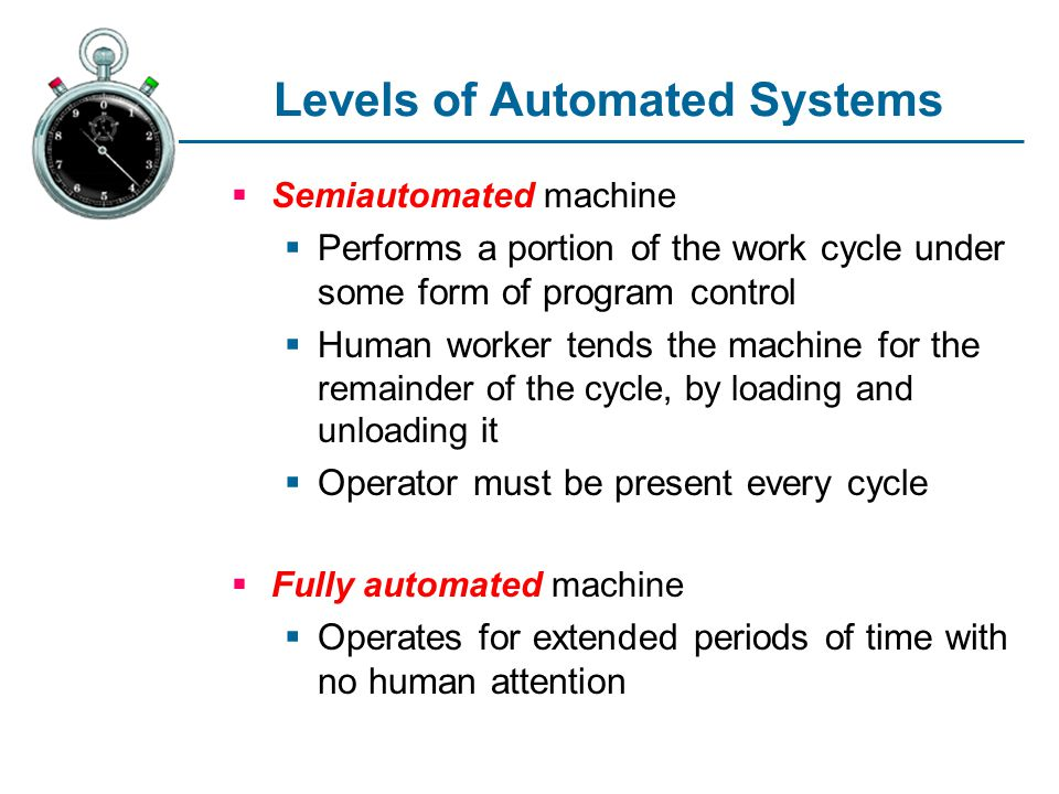 Levels of Automated Systems Semiautomated machine Performs a portion of the work cycle under some form of program control Human worker tends the machi