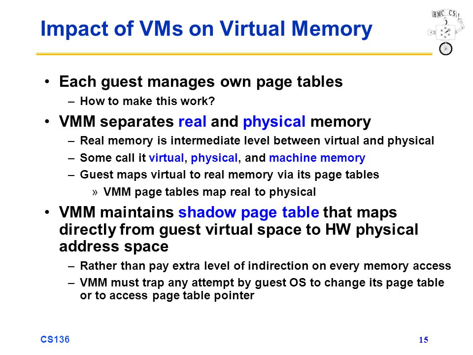 CS136 15 Impact of VMs on Virtual Memory Each guest manages own page tables –How to make this work? VMM separates real and physical memory –Real memor