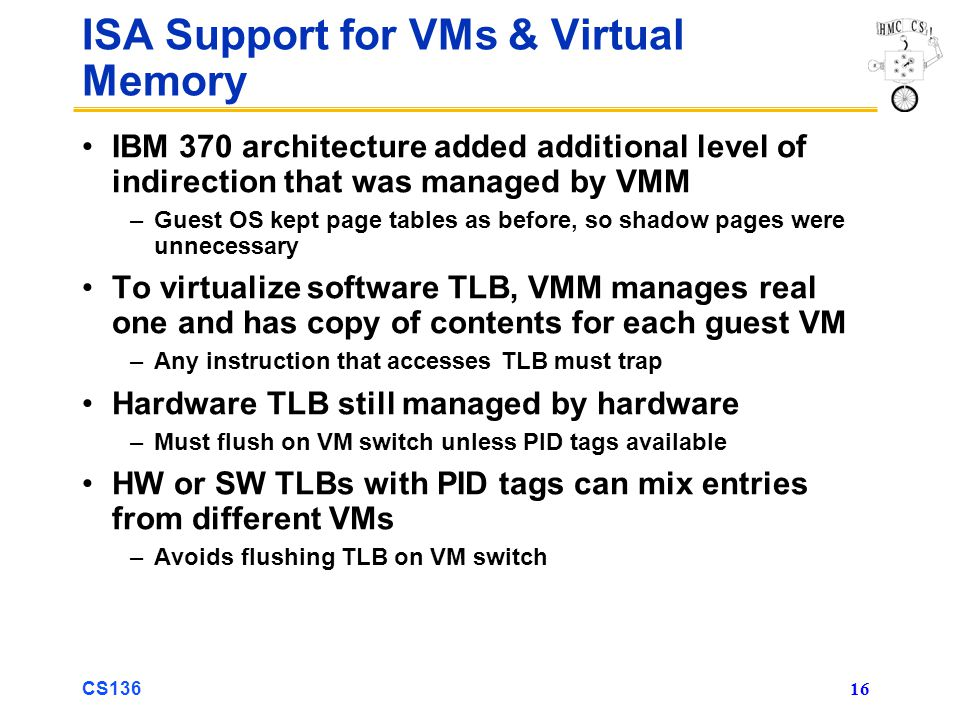 CS136 16 ISA Support for VMs & Virtual Memory IBM 370 architecture added additional level of indirection that was managed by VMM –Guest OS kept page t