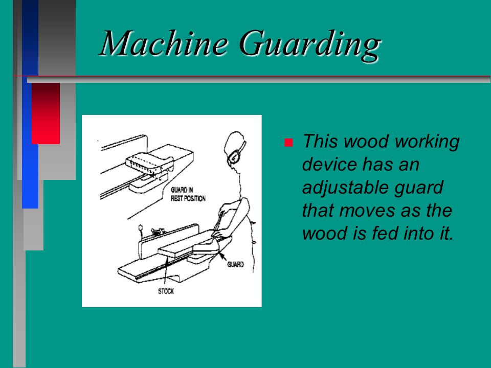 Machine Guarding n n This wood working device has an adjustable guard that moves as the wood is fed into it.