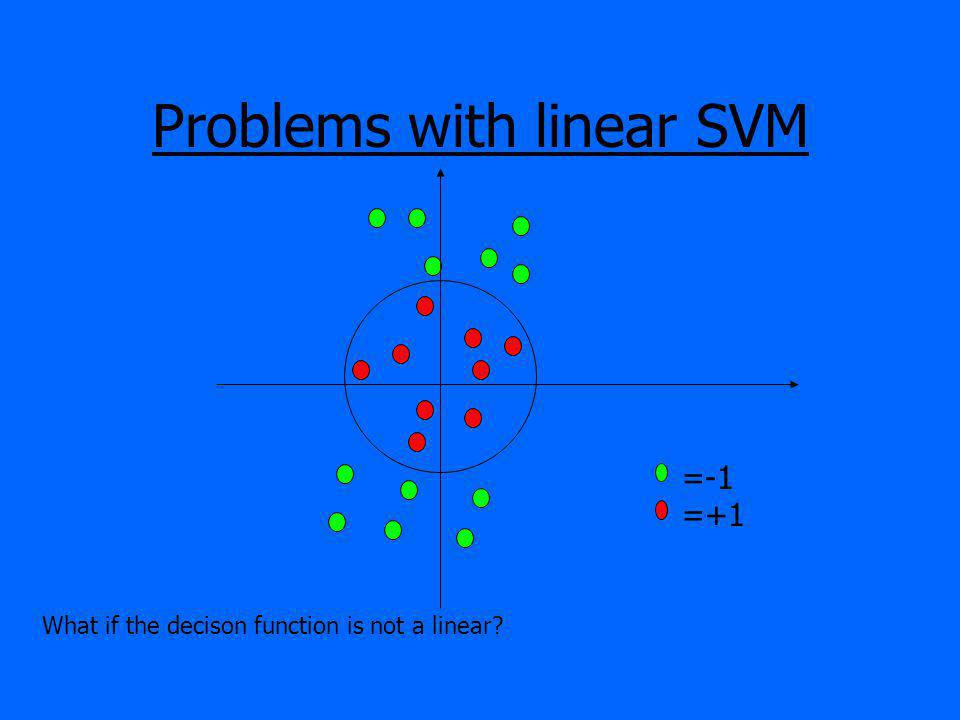 Problems with linear SVM =-1 =+1 What if the decison function is not a linear?