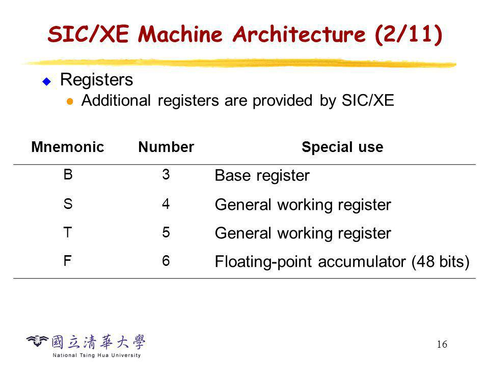 16 SIC/XE Machine Architecture (2/11) Registers Additional registers are provided by SIC/XE MnemonicNumberSpecial use B3 Base register S4 General work