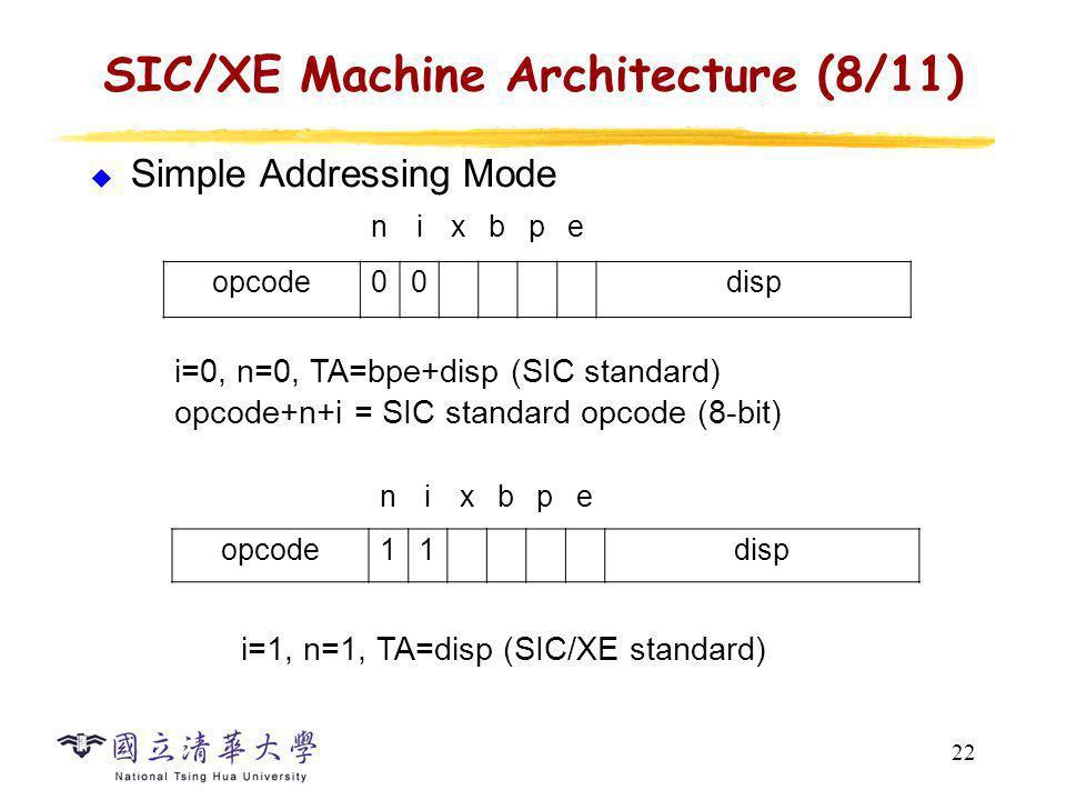 22 SIC/XE Machine Architecture (8/11) Simple Addressing Mode nixbpe opcode00disp i=0, n=0, TA=bpe+disp (SIC standard) opcode+n+i = SIC standard opcode