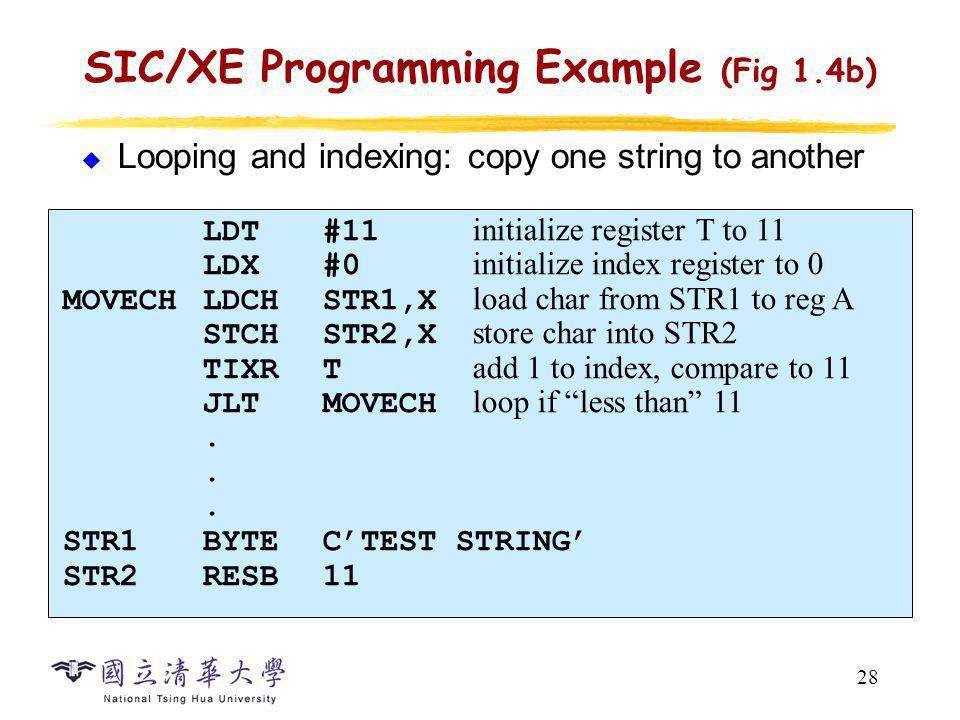 28 SIC/XE Programming Example (Fig 1.4b) Looping and indexing: copy one string to another LDT#11 initialize register T to 11 LDX#0 initialize index re