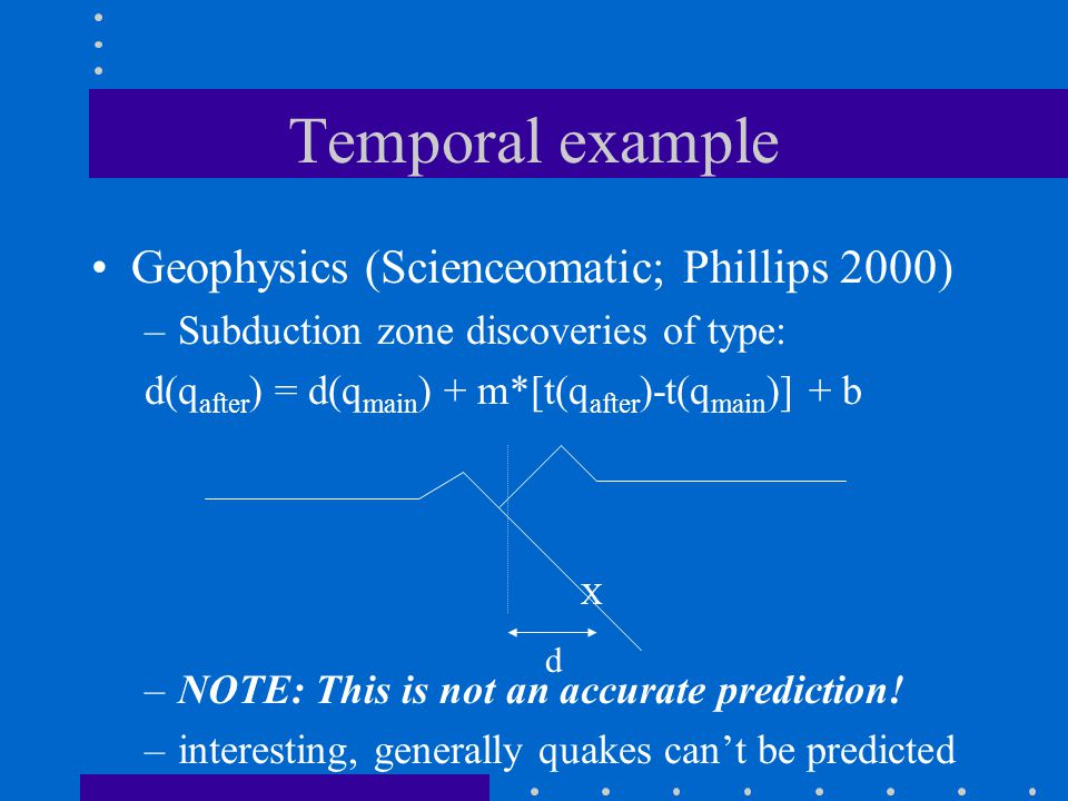 Temporal example Geophysics (Scienceomatic; Phillips 2000) –Subduction zone discoveries of type: d(q after ) = d(q main ) + m*[t(q after )-t(q main )]