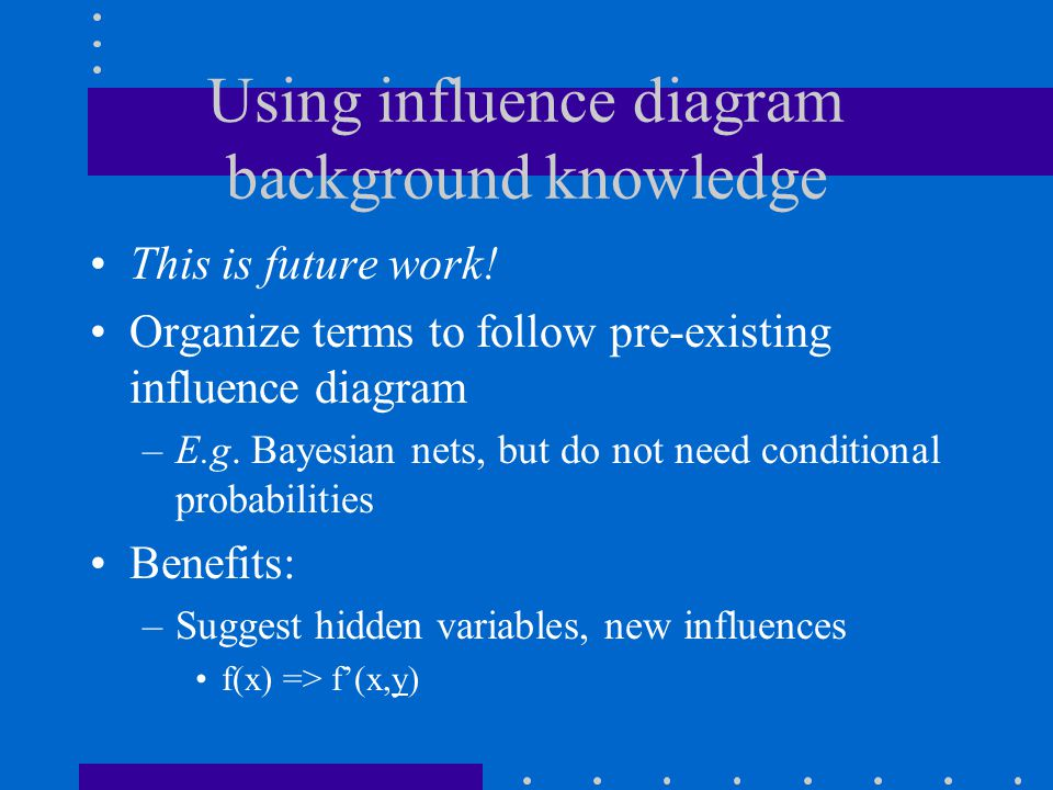 Using influence diagram background knowledge This is future work.