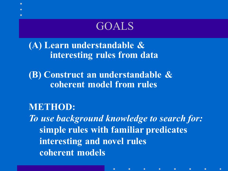 GOALS (A) Learn understandable & interesting rules from data (B) Construct an understandable & coherent model from rules METHOD: To use background kno