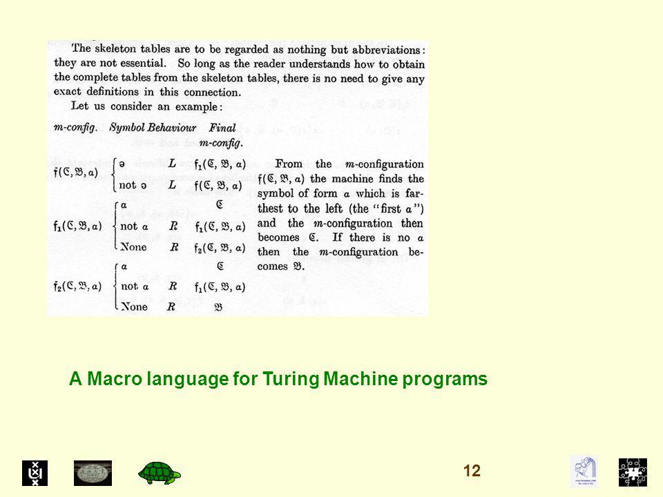 A Macro language for Turing Machine programs 12