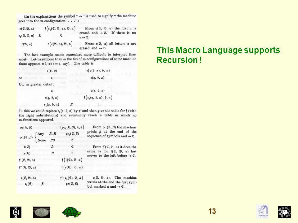 This Macro Language supports Recursion ! 13