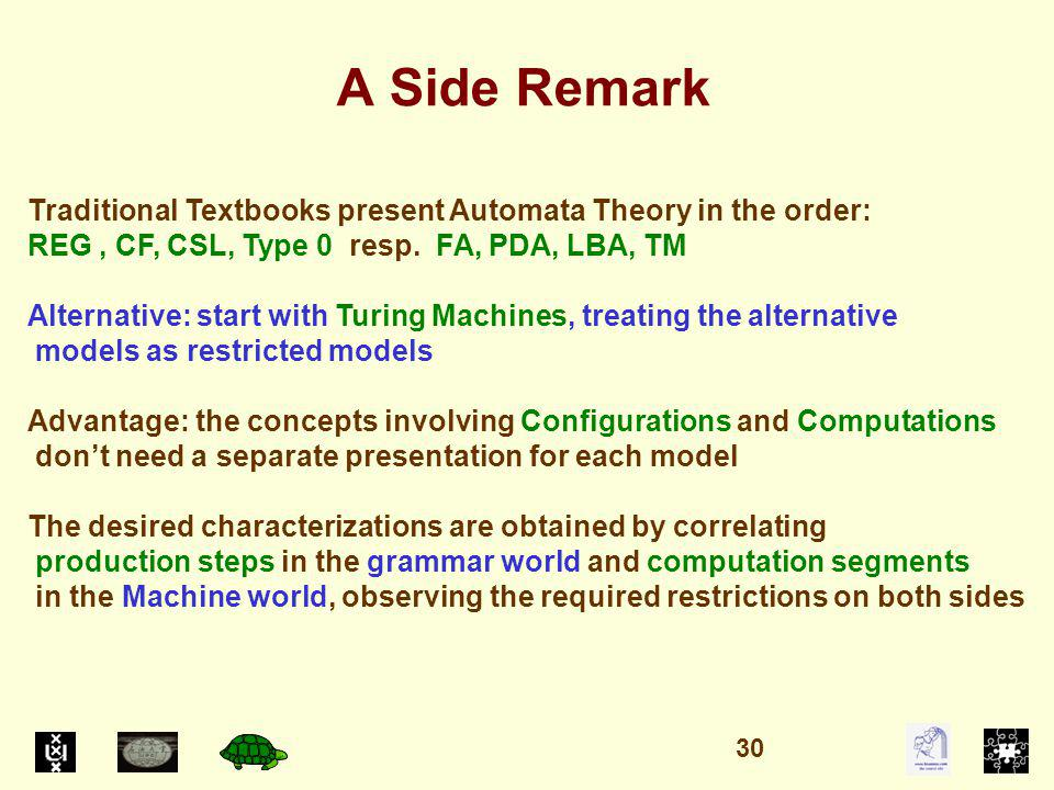 A Side Remark Traditional Textbooks present Automata Theory in the order: REG, CF, CSL, Type 0 resp.